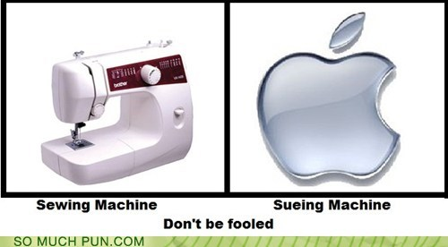 suing,similar sounding,apple,know the difference,sewing