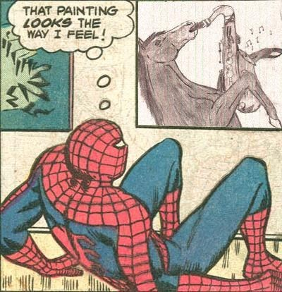 feels epic sax guy painting Spider-Man horse - 6729216768
