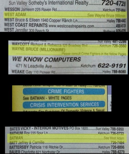 Adam West phone book IRL batman