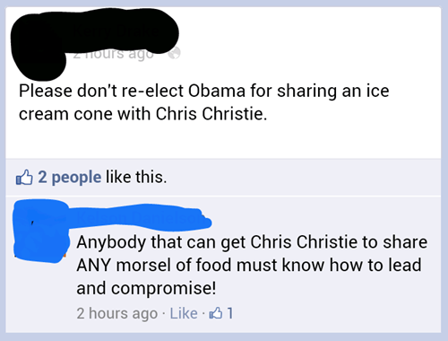 Chris Christie,obama,ice cream,ice cream cone,hurricane sandy,bipartisanship
