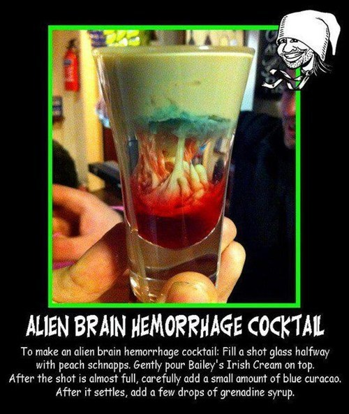 Early Morning Happy Hour,Appetizing,Alien Brain Hemorrhage,cocktail