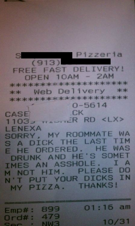 pizza pizzeria receipt - 6729628416