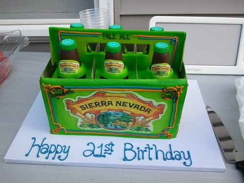cake,actual beer,21st birthday