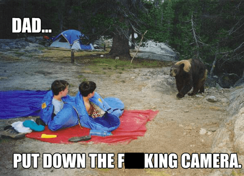 photo op,bear,dad,camping