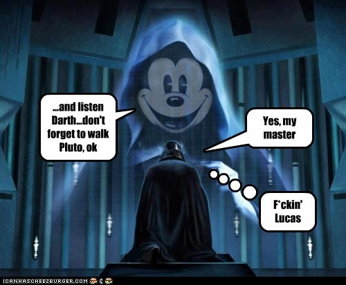 george lucas,disney,pluto,master,star wars,mickey mouse,darth vader