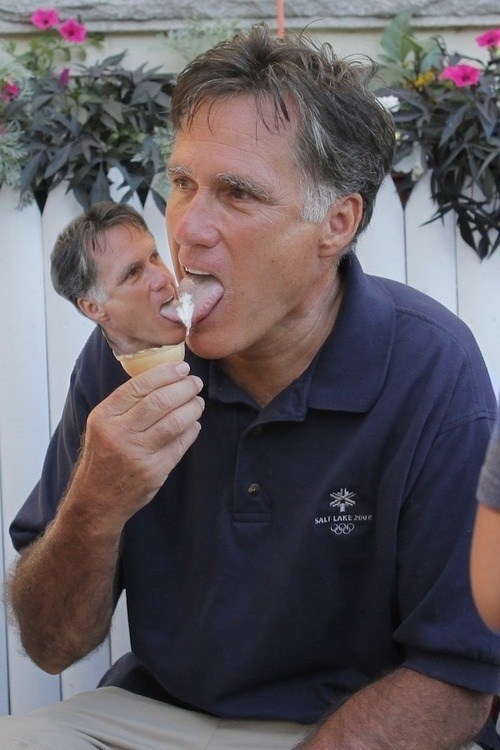 wtf,gross,Mitt Romney,ice cream,licking,head swap