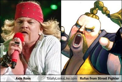 Axle Rose Totally Looks Like Rufus from Street Fighter