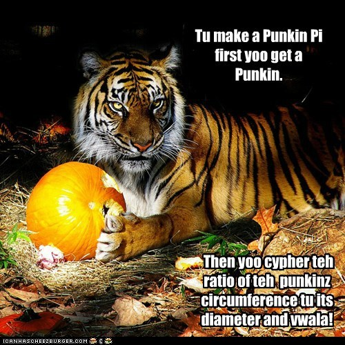 Tu make a Punkin Pi first yoo get a Punkin. Then yoo cypher teh ratio of teh punkinz circumference tu its diameter and vwala!