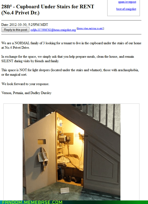 craigslist Harry Potter cupboard under the stairs - 6731017728
