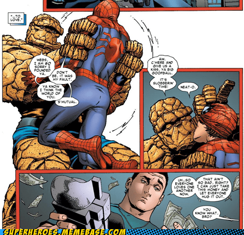 slobbering,wtf,Spider-Man,off the page,clobbering time,The Thing