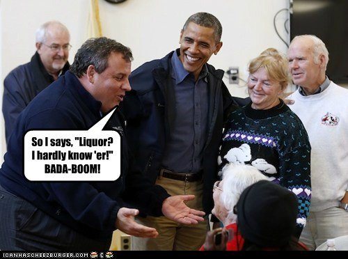 bada bing Chris Christie pun dirty jokes barack obama liquor New Jersey