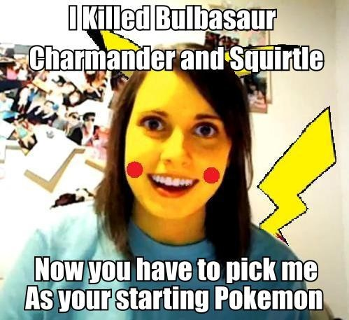 overly attached girlfriend pikachu meme - 6733277952