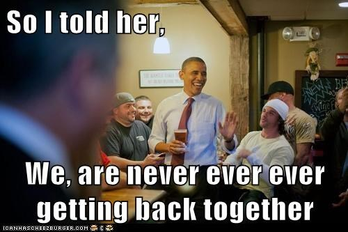 taylor swift,lyrics,song,we are never ever getting back together,barack obama,laughing