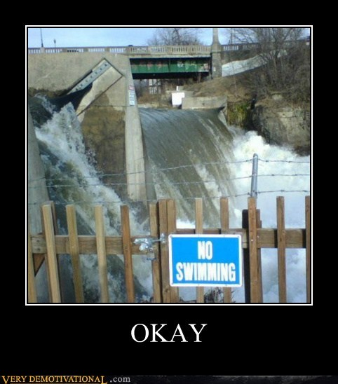 sign no swimming ok flood