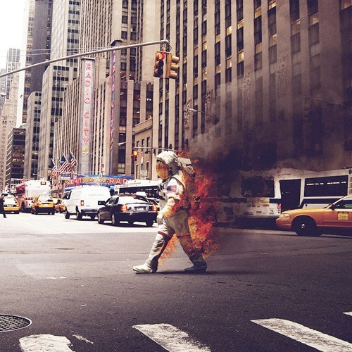 flaming astronaut Meanwhile In NYC
