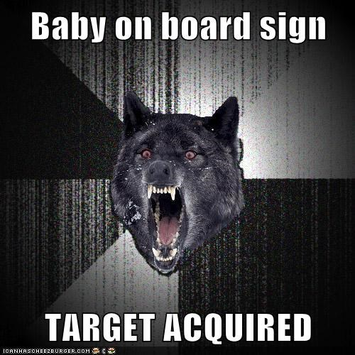 Baby on board sign TARGET ACQUIRED