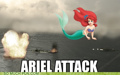 ariel,disney,aerial,literalism,homophone,The Little Mermaid,double meaning