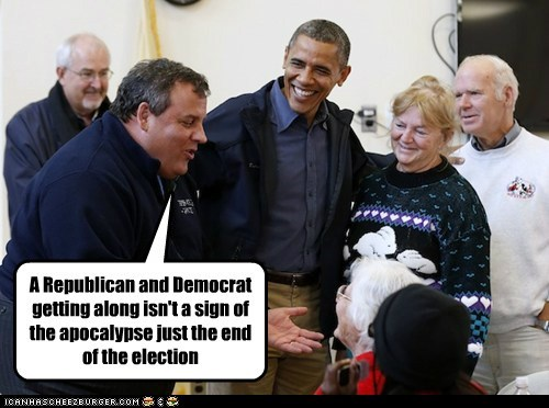 Chris Christie,end,Democrat,barack obama,amazing,republican,election,getting along