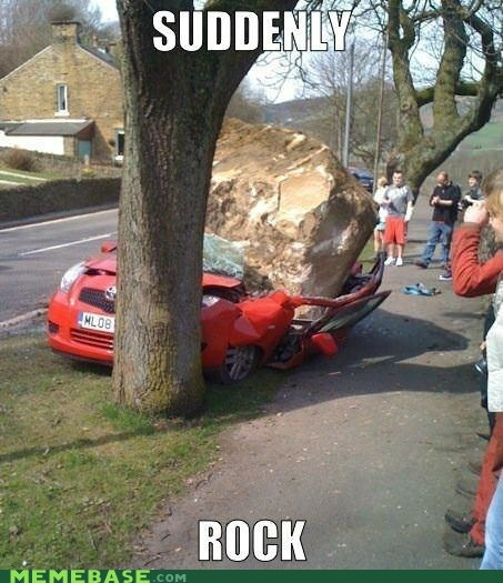 suddenly car thousands of them rock tree