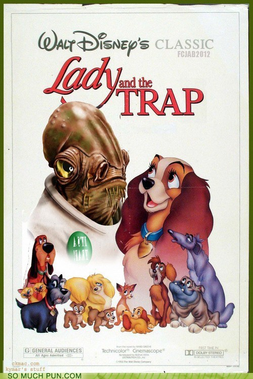 george lucas,lady and the tramp,disney,shoop,mashup,trap,tramp,similar sounding,lucasarts,juxtaposition,missing letter