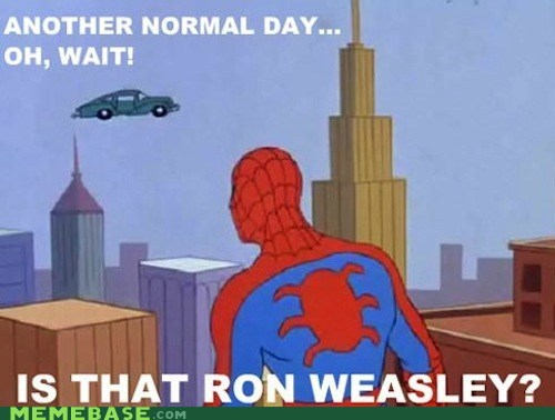 spider-man car,Ron Weasley,flying