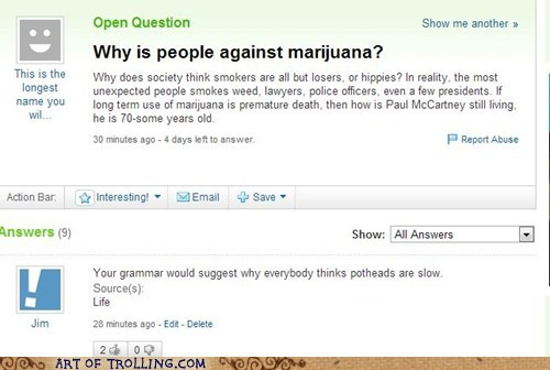 grammar,pot,yahoo answers
