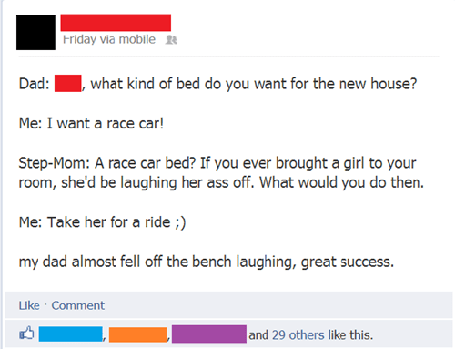 bed,race car,facebook