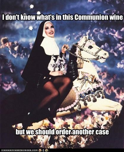 crazy carousel drunk wine nun horse - 6738627584