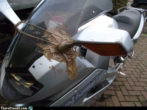 hairy string,packing tape,motorcycle,duct tape