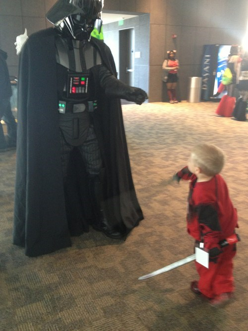 cosplay kids deadpool darth vader