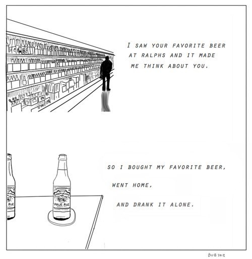charity,favorite beer,ralph's,drank alone
