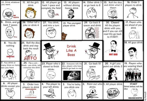 rage faces,drinking game,board game