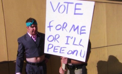 vote campaigning pee threat election strategy