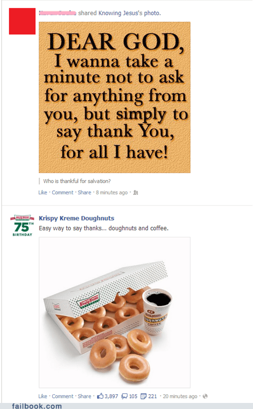 doughnuts Dear God krispy kreme thanksgiving saying thank you - 6739161088