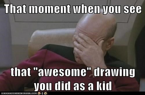 drawing,kid,that moment,Captain Picard,awesome,facepalm,patrick stewart