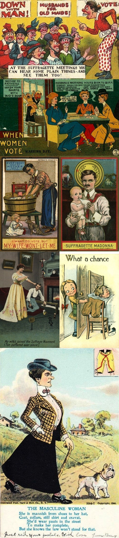history womens-suffrage past voting postcards