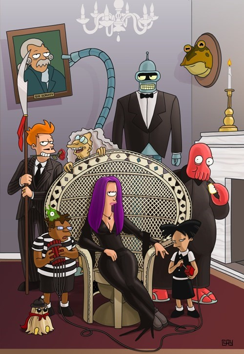 bender,Fan Art,leela,the addams family,futurama,mash up,fry