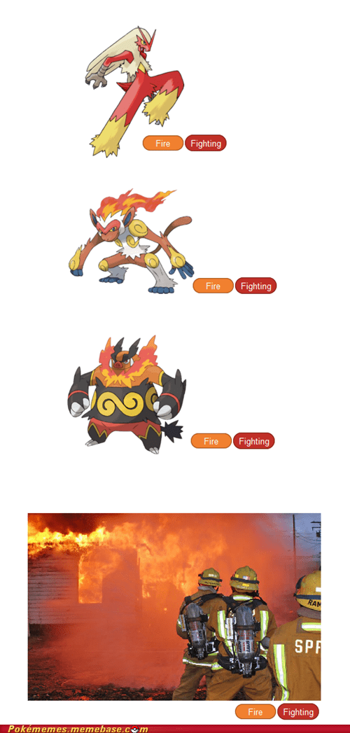 Pokémon,fire fighter,fire/fighing,types