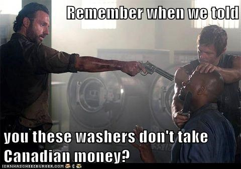 laundry,Rick Grimes,Andrew Lincoln,daryl dixon,washers,canadian,norman reedus,gun,money,The Walking Dead