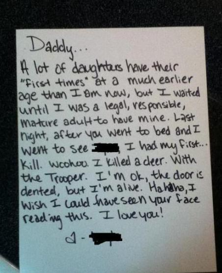 Picture of a note a girl left to her Dad that starts out like she lost her virginity, but she is actually talking about her first car accident.