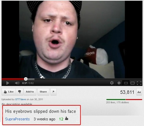 mustache,eyebrows,youtube comments