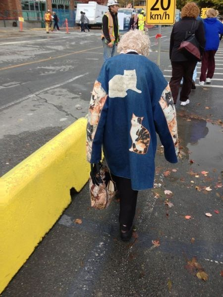 old lady,cats jacket