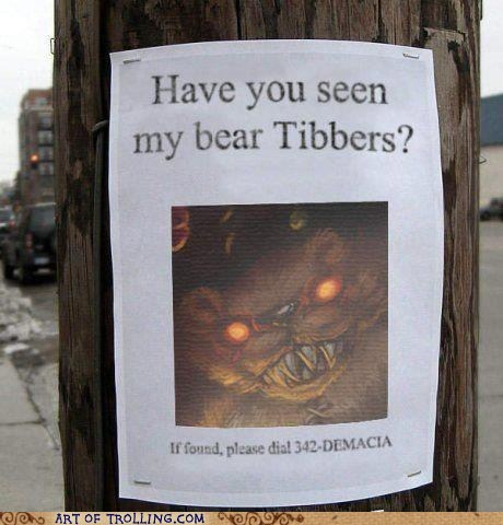 sign tibbers lost