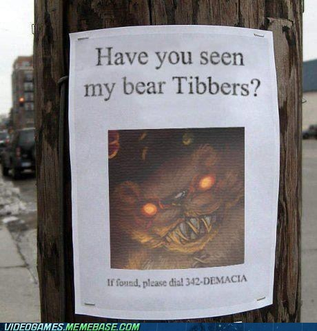 have you seen my bear tibbers,moba,tubber