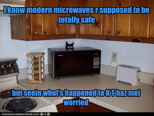 I know modern microwaves r supposed to be totally safe but seein whut's happened to K T haz mei worried