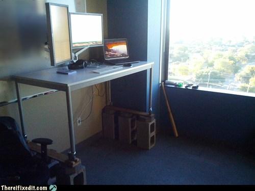 cinder blocks office desk - 6742152960