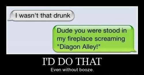 drunkenness,i'd do that,too drunk,diagon alley
