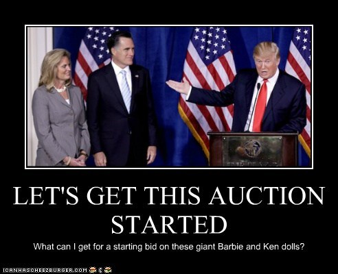 Ann Romney,life size,Barbie,Mitt Romney,donald trump,dolls,ken,auction