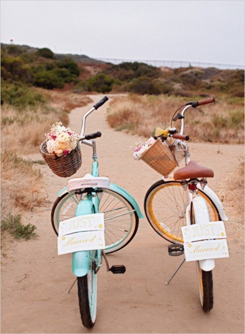 Just Married bikes flee getaway - 6742415104