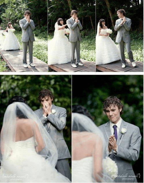 bride cry groom cute first look - 6742436352